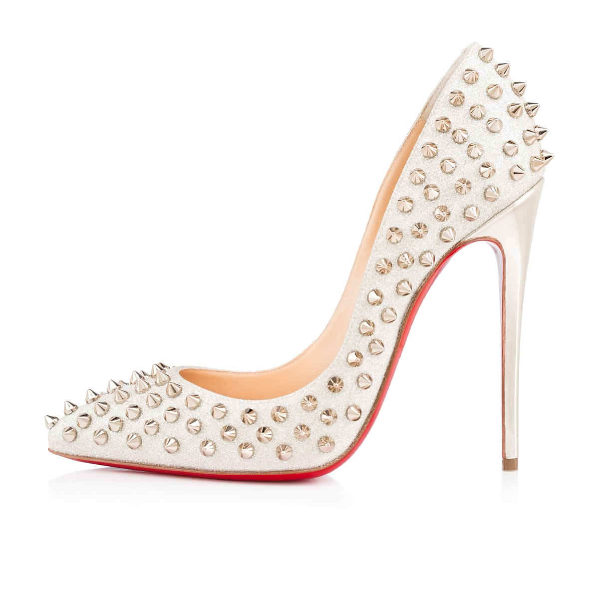e1827d7ed7f5 Christian Louboutin Follies Spikes Glitter Mini in White - Lyst