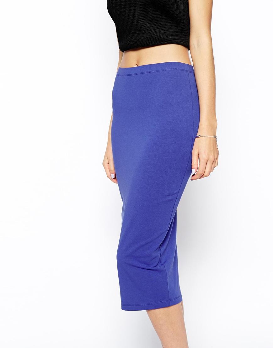 Asos Midi Pencil Skirt in Jersey in Blue | Lyst