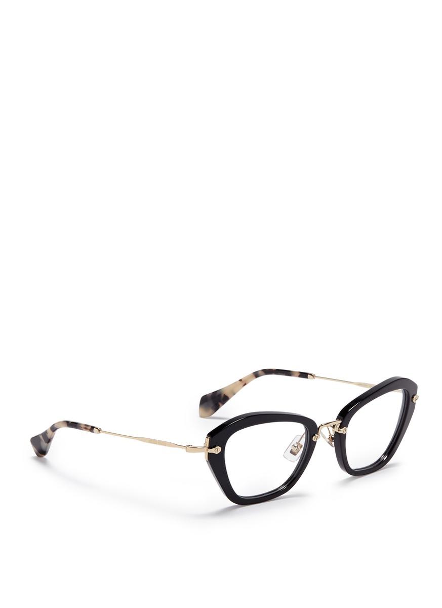 d8cca9a8d93e4 Lyst - Miu Miu   39 noir  39  Tortoiseshell Tip Optical Glasses