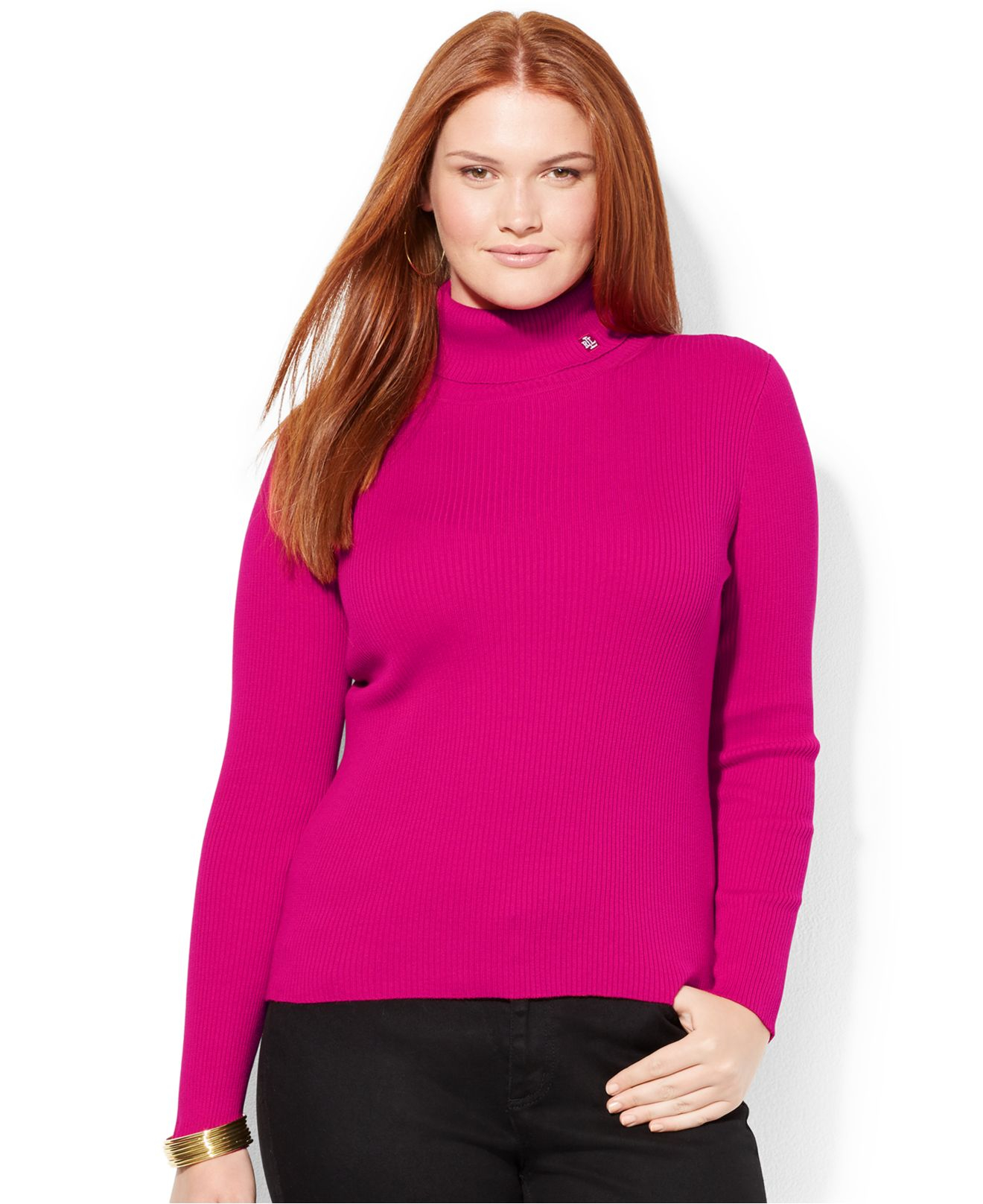 f9c3c754e8d34 Lyst - Lauren by Ralph Lauren Plus Size Ribbed Turtleneck Sweater in ...