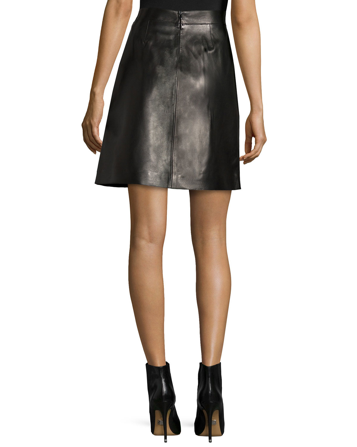 mcqueen a line leather skirt in black lyst