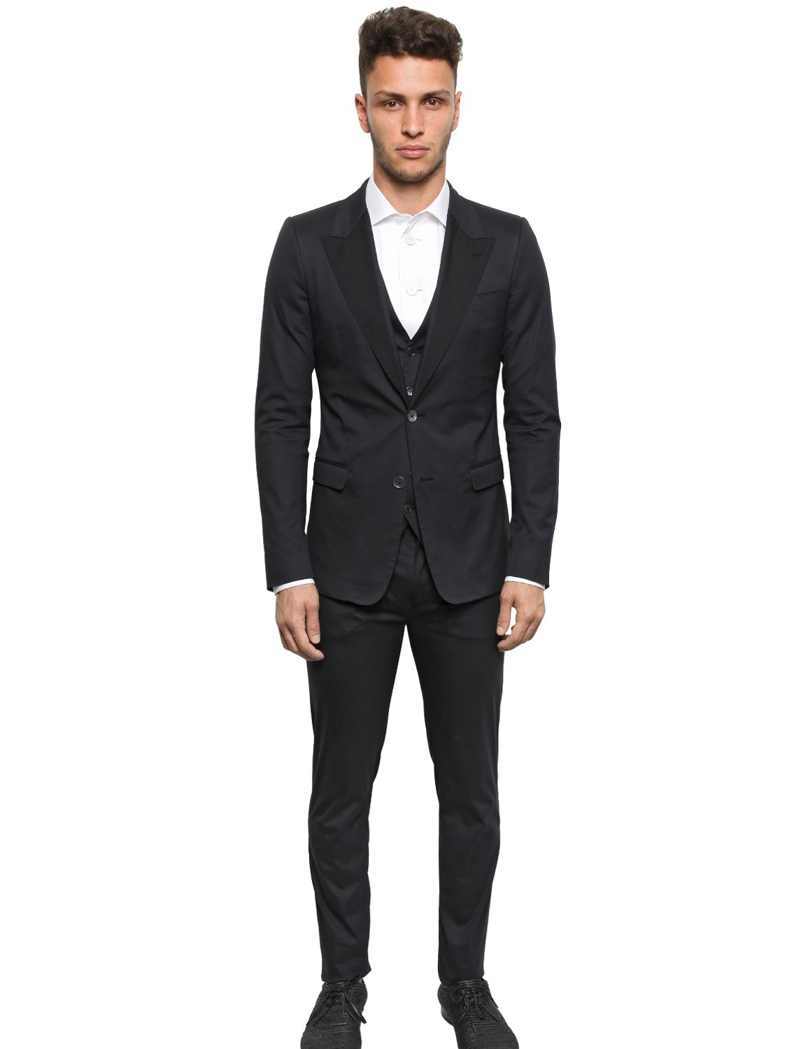 Dolce & gabbana Stretch Light Cotton Canvas Suit in Black for Men ...
