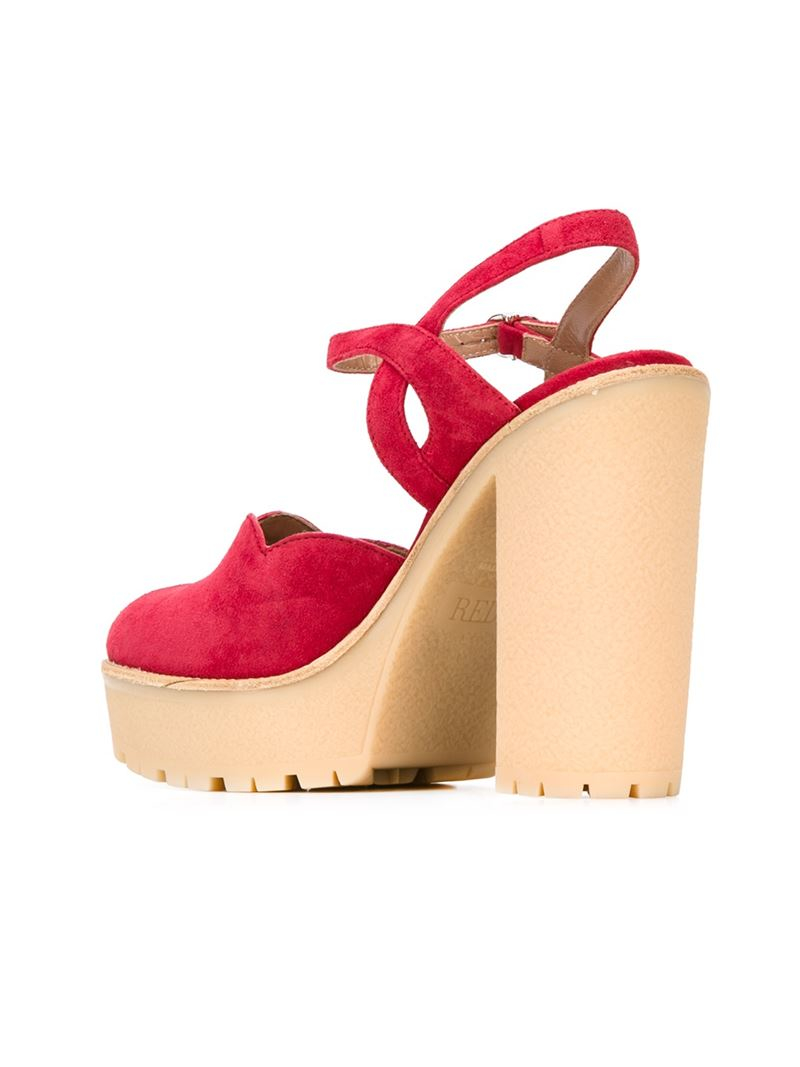 Red Valentino Peep Toe Platform Sandals In Red Lyst