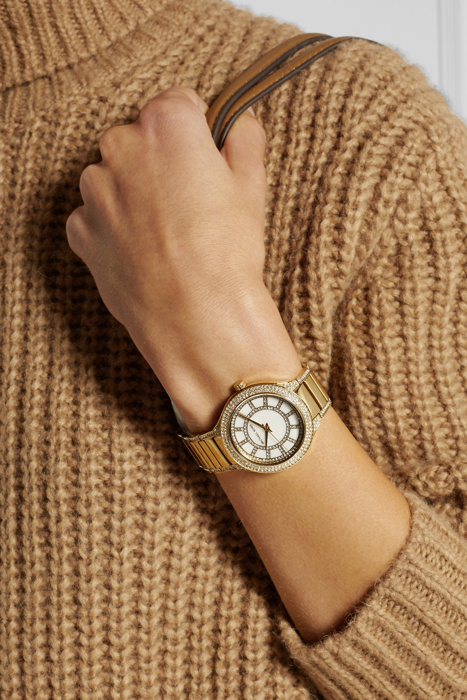 2542bbebd55f Lyst - Michael Kors Kerry Crystal-Embellished Gold-Tone Watch in ...