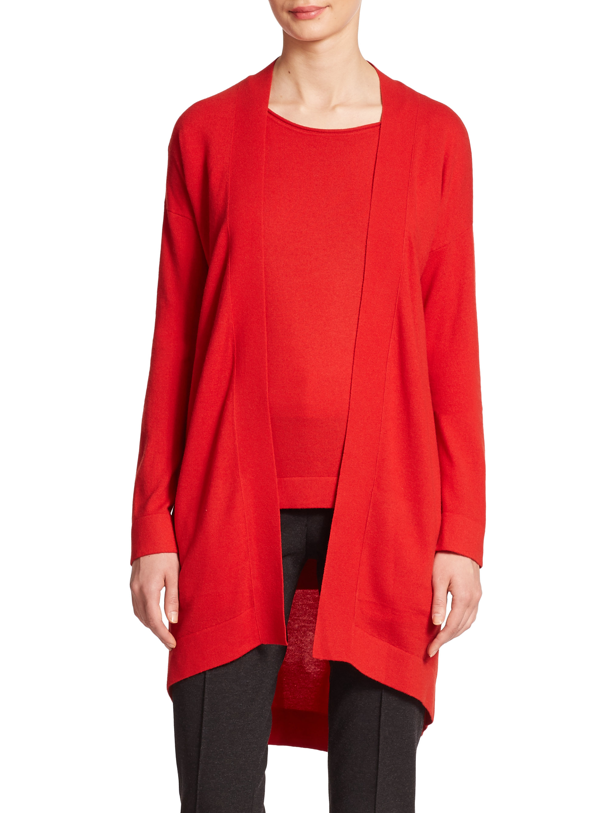 Lyst - Akris Punto Long Wool Open-front Cardigan in Red
