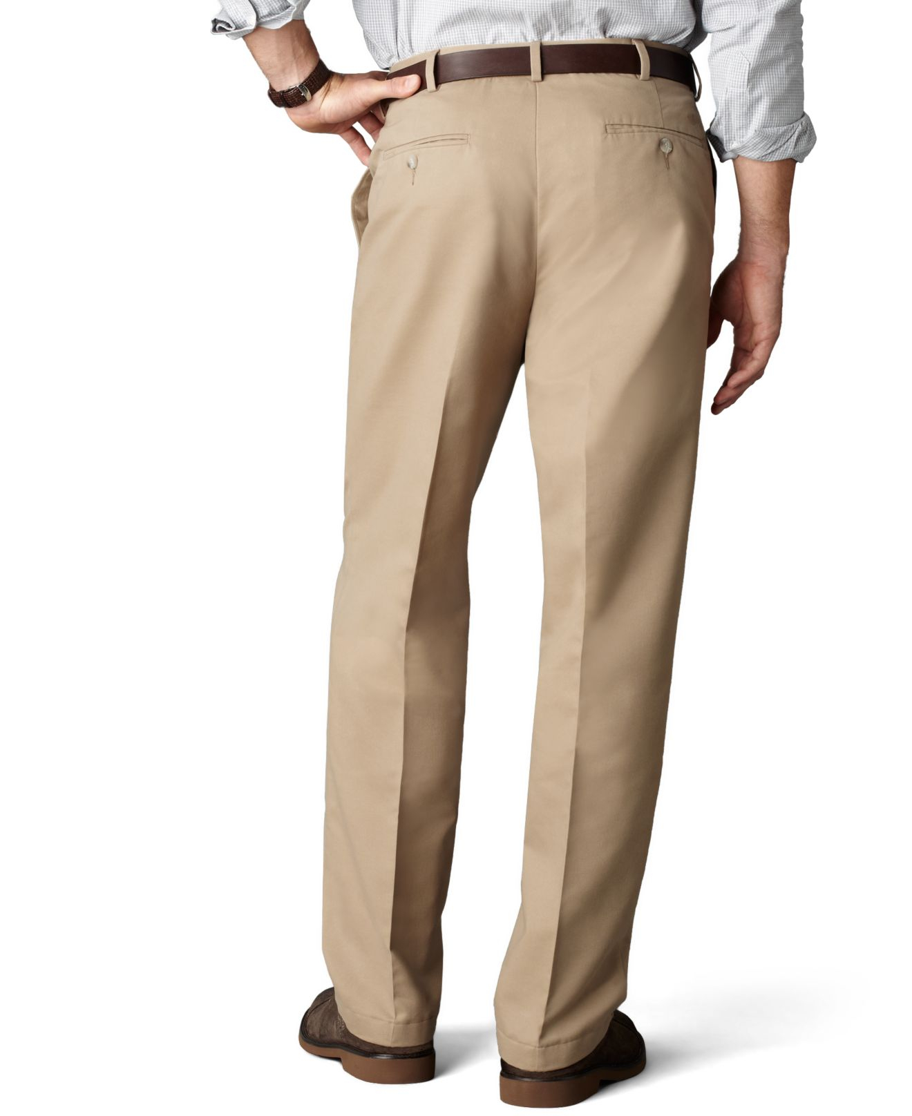 Dockers D4 Relaxed Fit Comfort Khaki Flat Front Pants in Natural ...