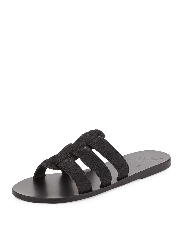ancient greek sandals kavvadia calf hair sandal slide in black lyst