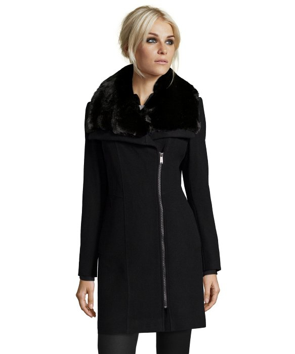 Dkny Black Wool Faux Fur Collar 'walker' Asymmetrical Zip Coat in
