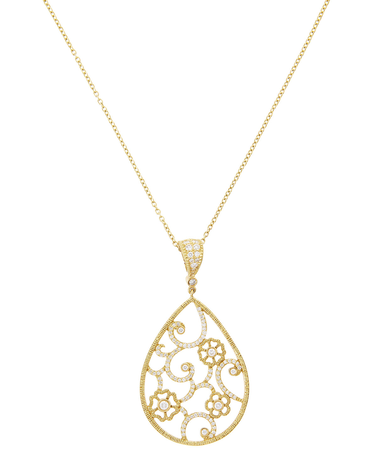 Lyst penny preville diamond flower filigree pear pendant necklace gallery aloadofball Image collections