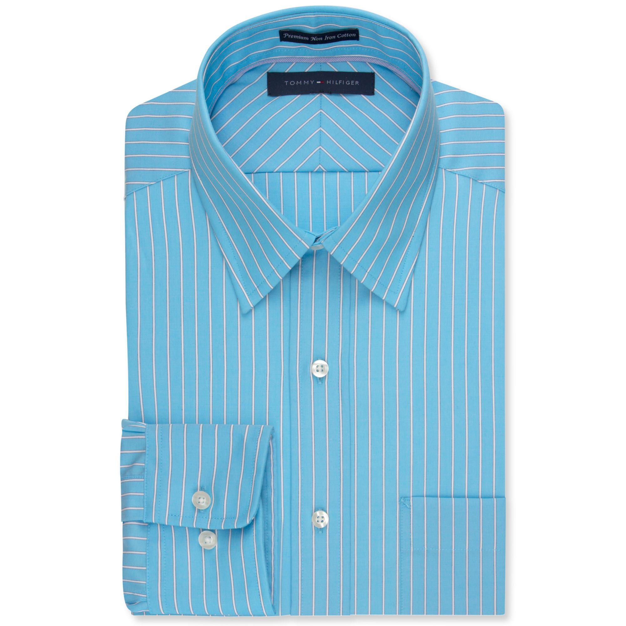 Tommy Hilfiger No Iron Aqua And White Stripe Dress Shirt