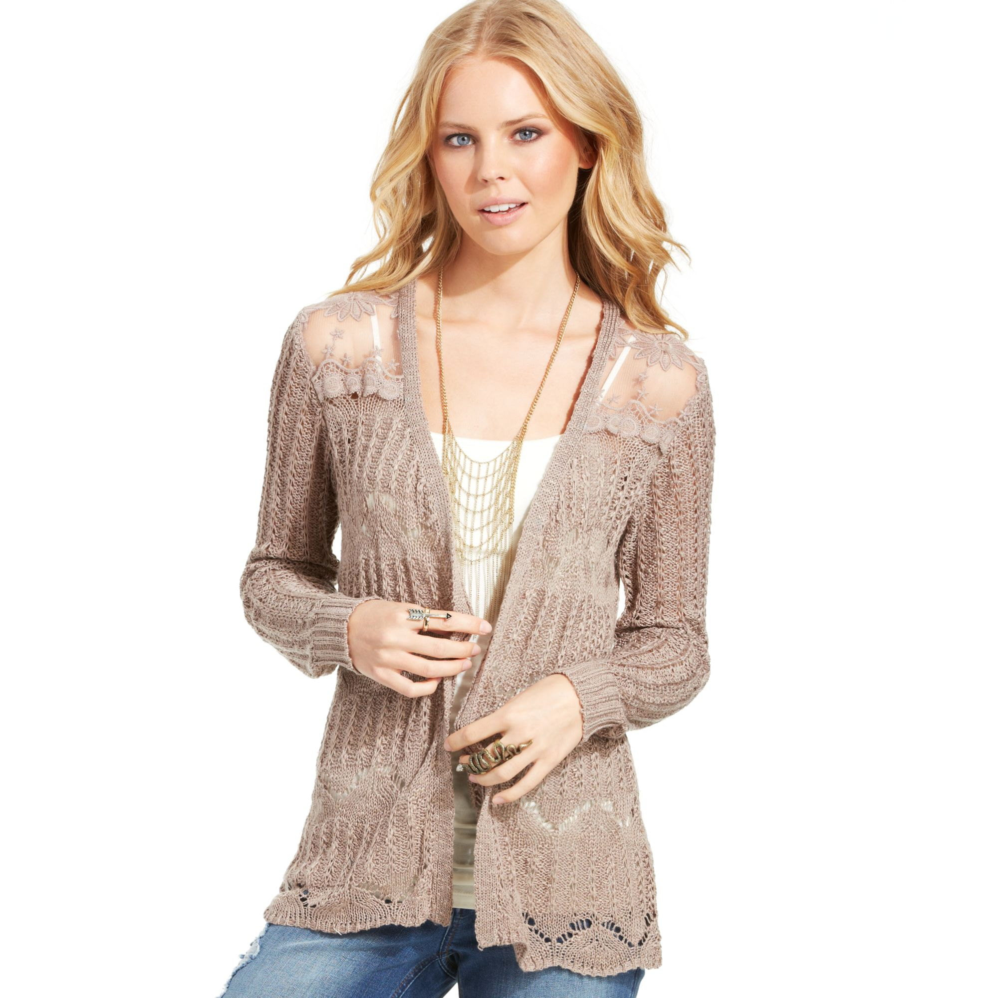 American rag Pointelle Knit Lace Panel Cardigan in Brown | Lyst