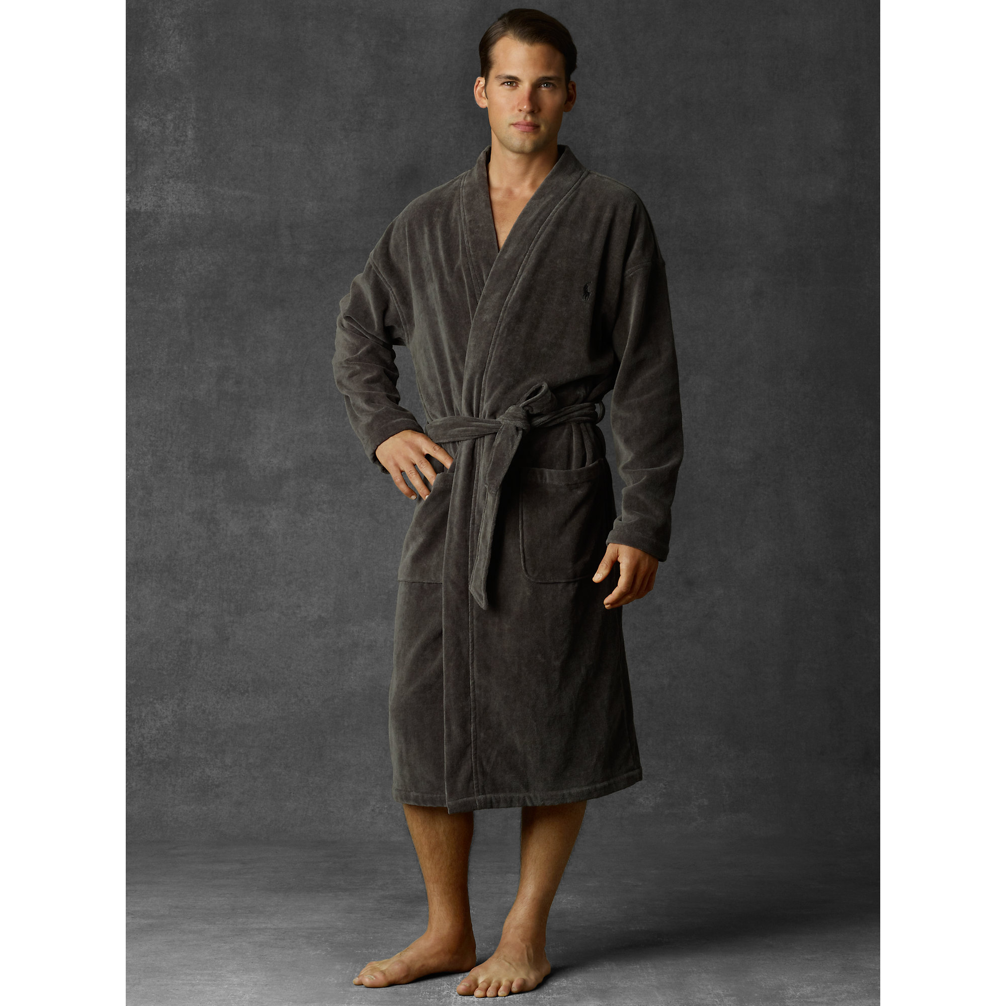 polo ralph lauren terry kimono robe in black for men smokey black lyst. Black Bedroom Furniture Sets. Home Design Ideas