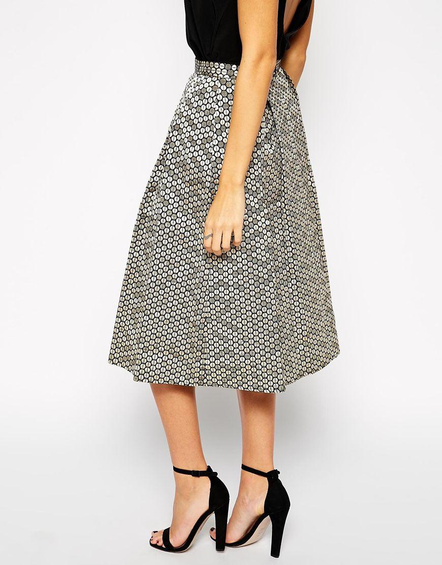 Girls on film Sequin Effect A Line Midi Skirt in Gray | Lyst
