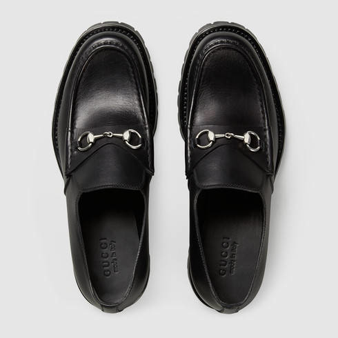 97ab10903a0 Gucci Men s Leather Lug Sole Horsebit Loafer in Black for Men - Lyst