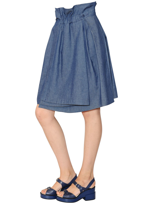 Jil sander navy Washed Cotton Denim Gathered Skirt in Blue | Lyst