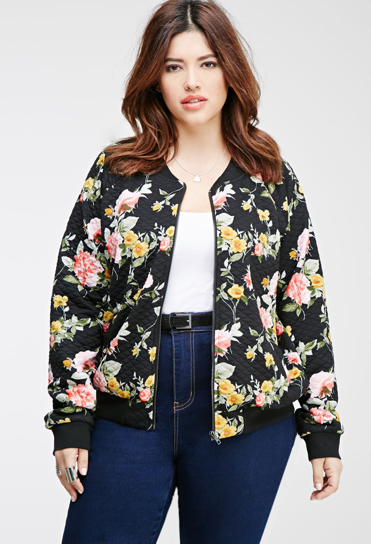 Forever 21 Plus Size Quilted Floral Bomber Jacket You've Been ...