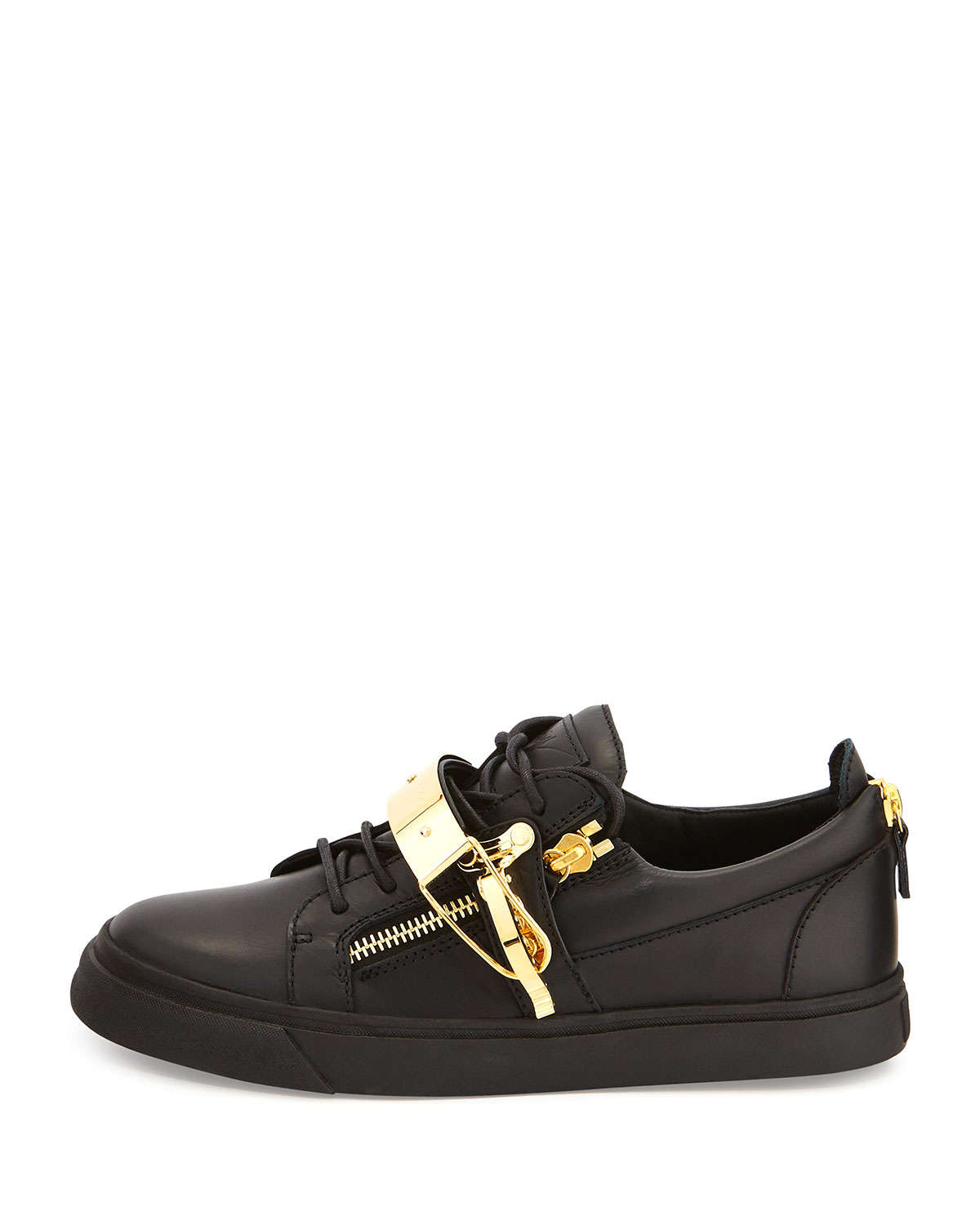 giuseppe zanotti leather metal strap low top sneakers in black for men lyst. Black Bedroom Furniture Sets. Home Design Ideas