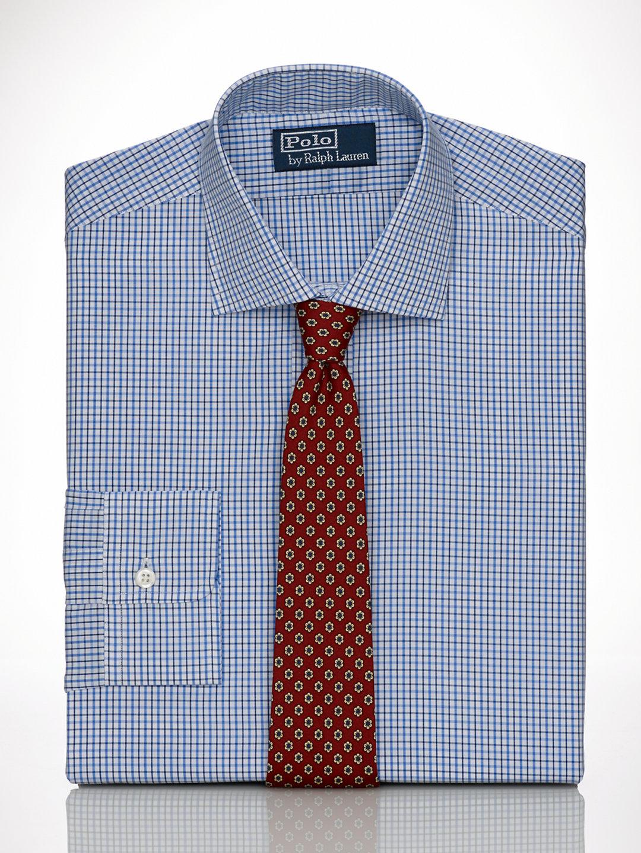 Polo ralph lauren custom fit regent dress shirt in blue for Custom fit dress shirts