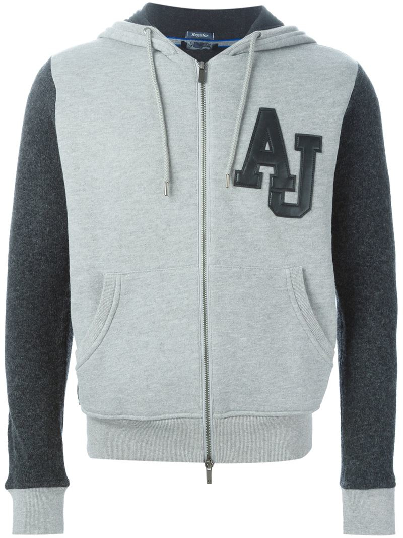 Armani Jeans Bi Colour Zipped Hoodie In Gray For Men Lyst