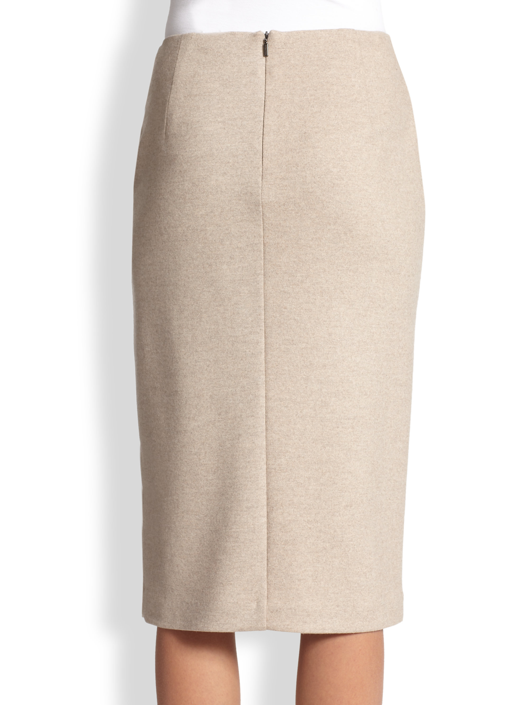 Max mara Nuccia Slit Wool Pencil Skirt in Natural | Lyst