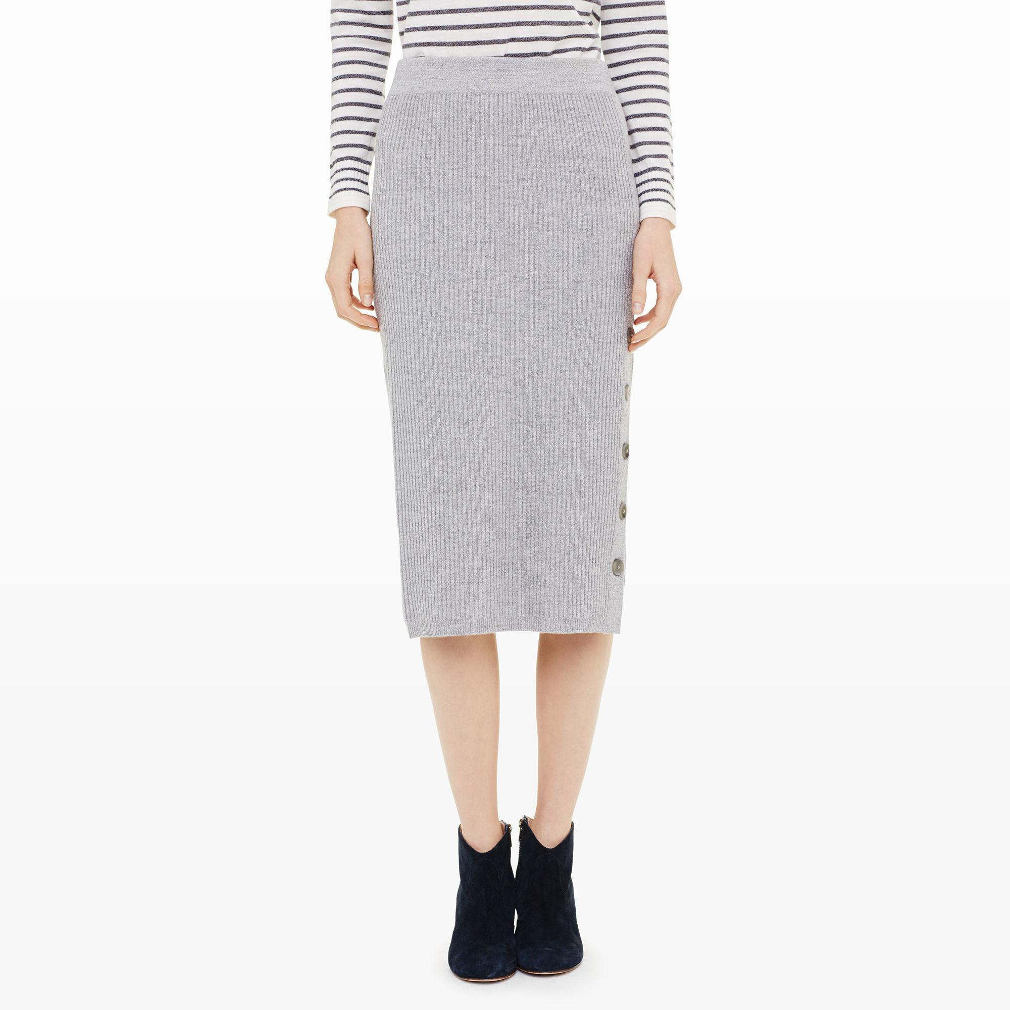 Club monaco Gerlanda Ribbed Sweater Skirt in Gray | Lyst