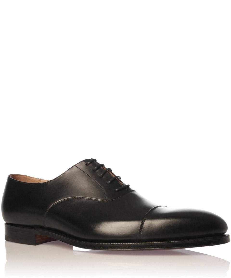 crockett and jones black hallam leather oxford shoes in