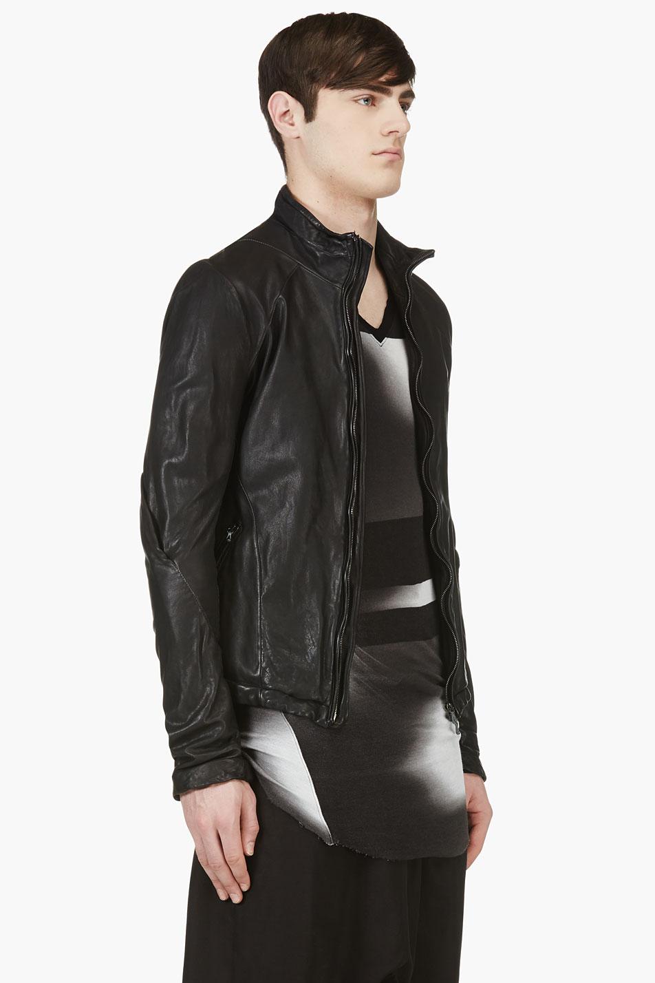 Lyst Julius Black Leather Minimalist Biker Jacket In