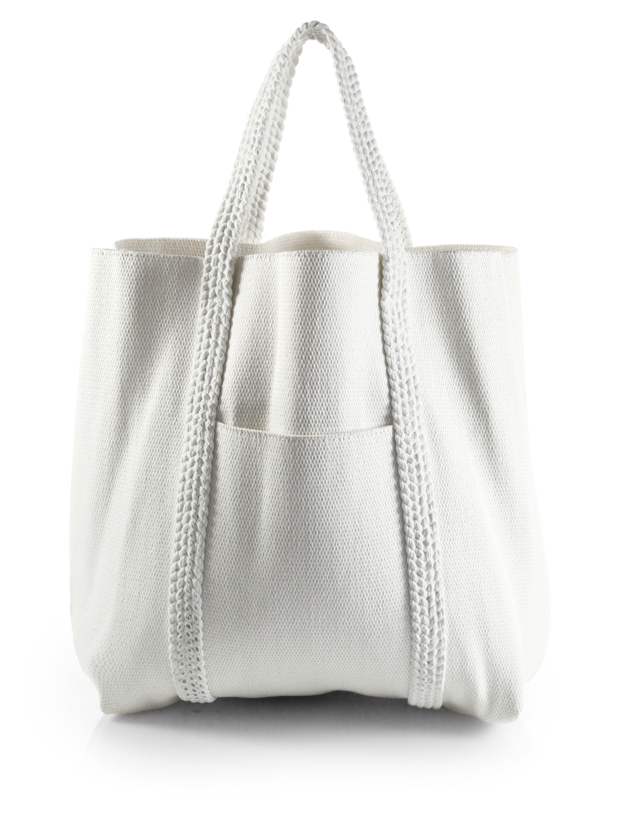 Chloé Woven Beach Bag in White | Lyst