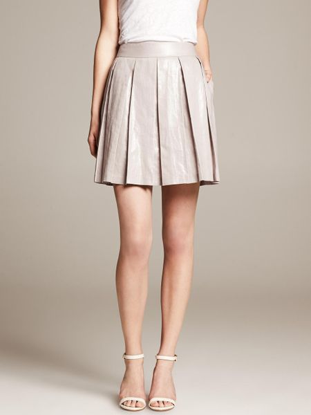 banana republic silver pleated skirt in silver silver