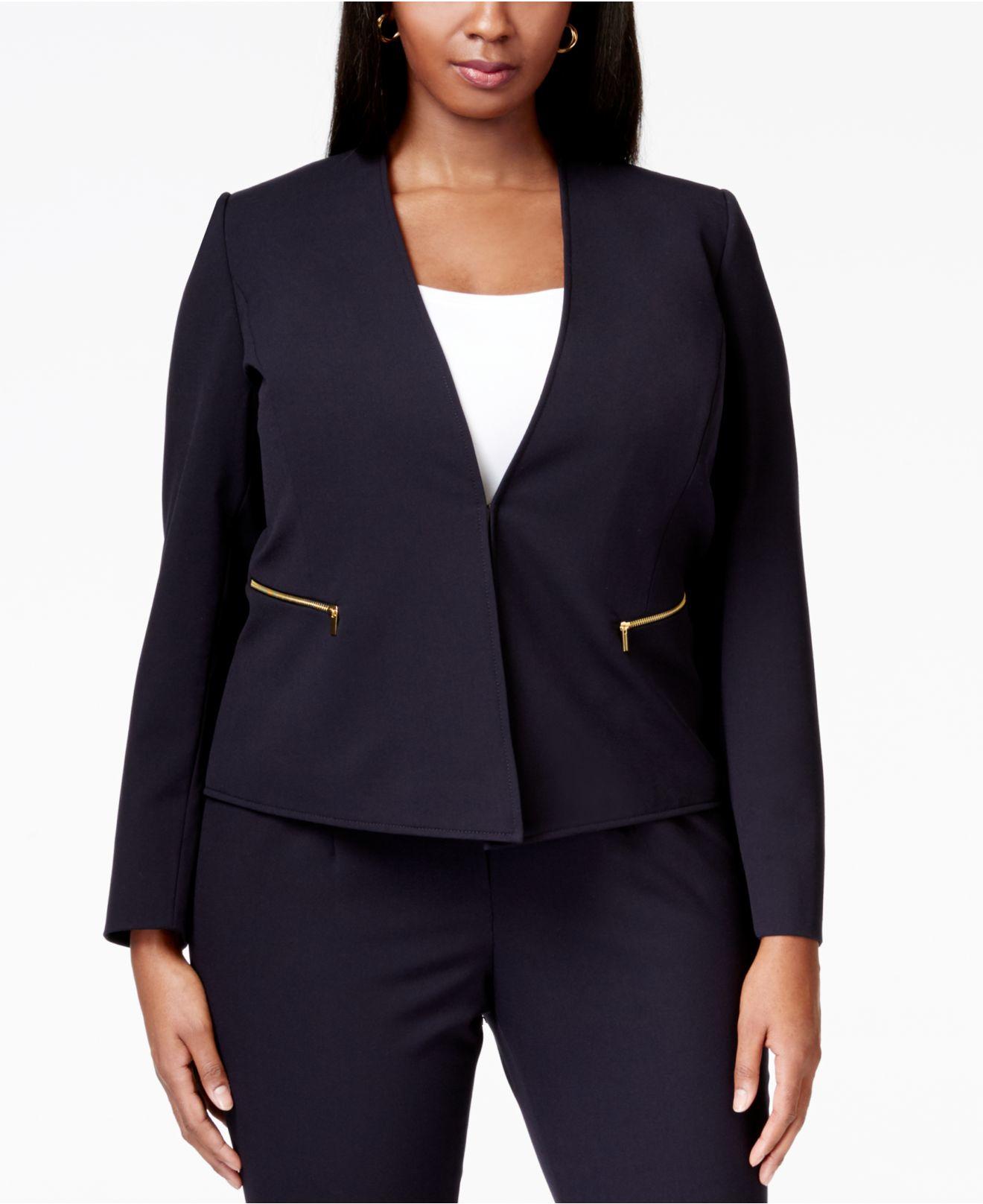 Lyst Tahari Plus Size Zip Pocket Collarless Blazer In Blue