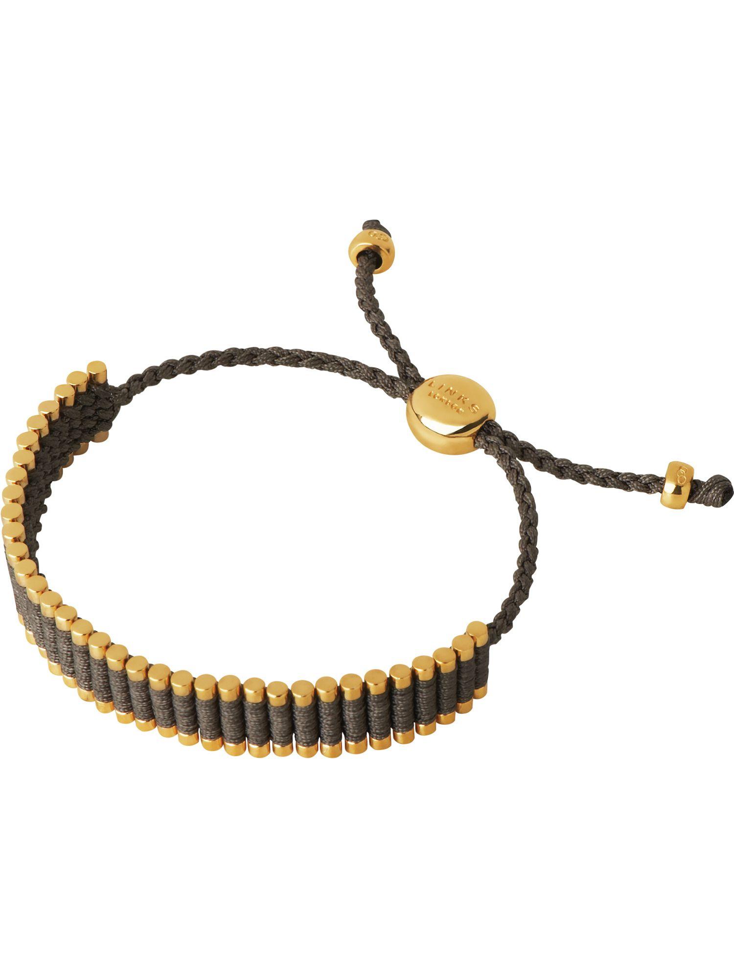 links of khaki friendship bracelet in metallic lyst