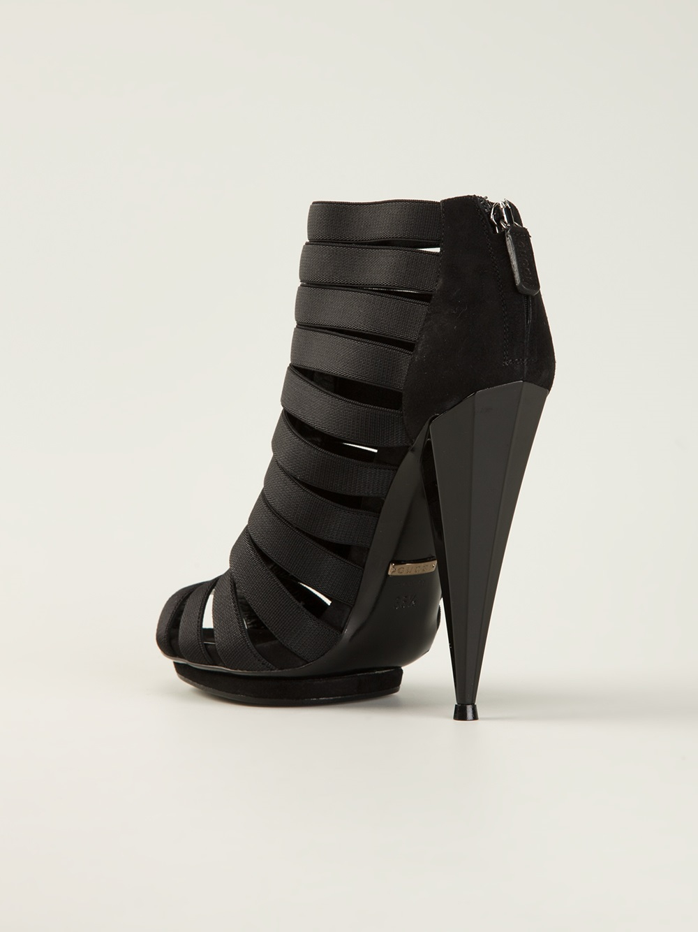 0e09e2bd6200 Lyst - Gucci Cage Strappy Sandals in Black