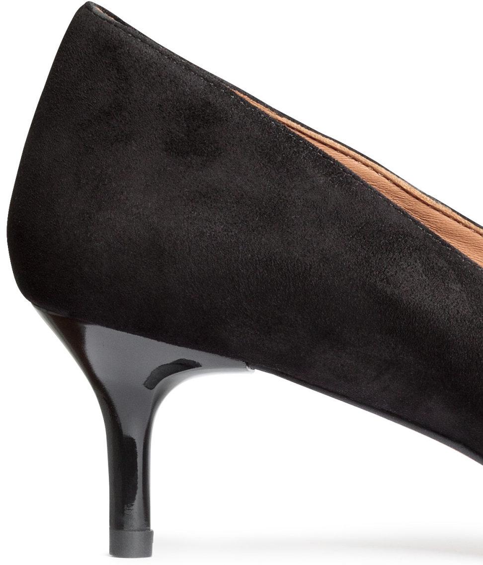 f45972acd0d5 H M Suede Kitten-heel Court Shoes in Black - Lyst