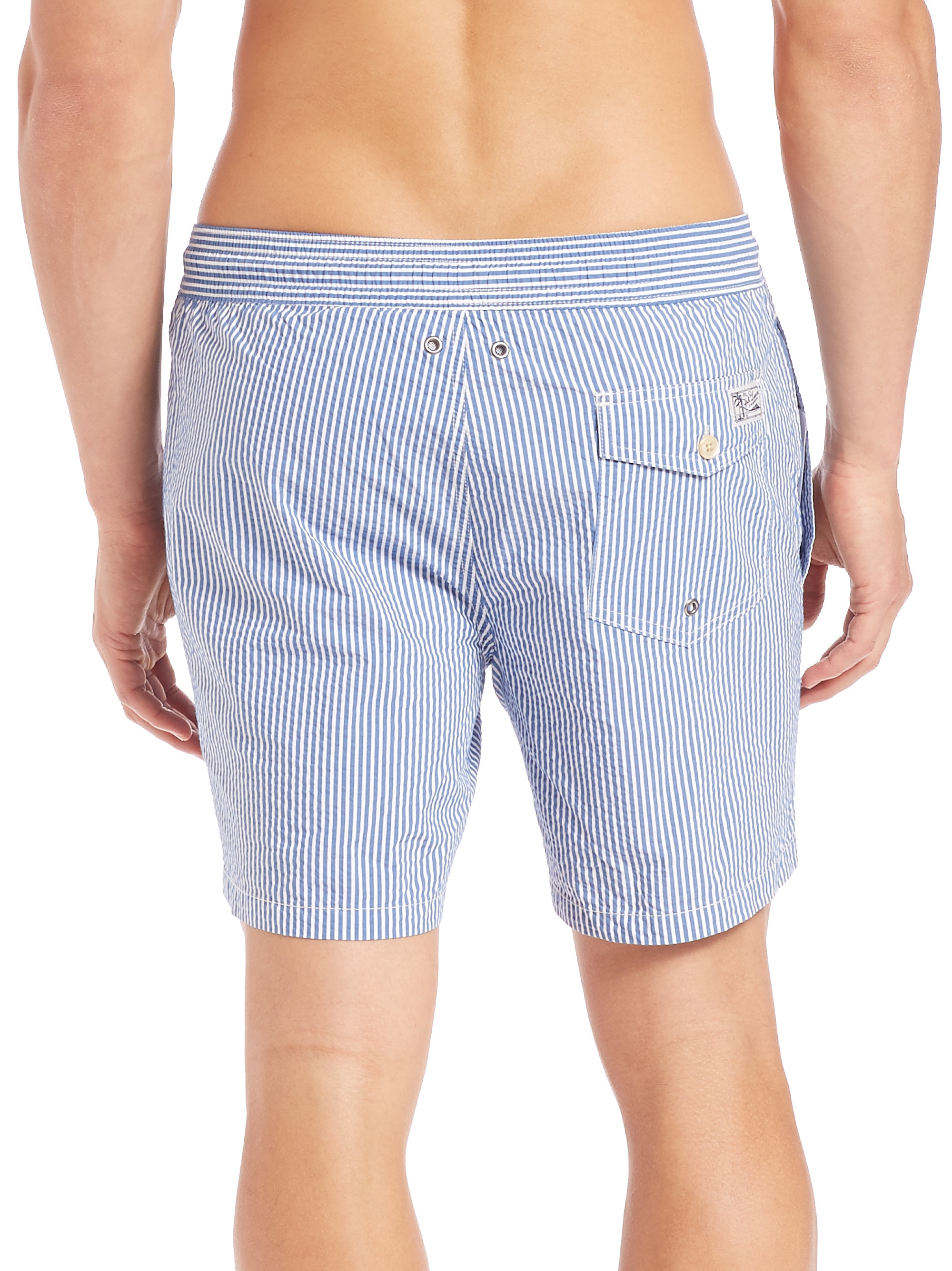 57f24a4a95 ... coupon code for lyst polo ralph lauren seersucker traveler swim shorts  in blue for men a4346