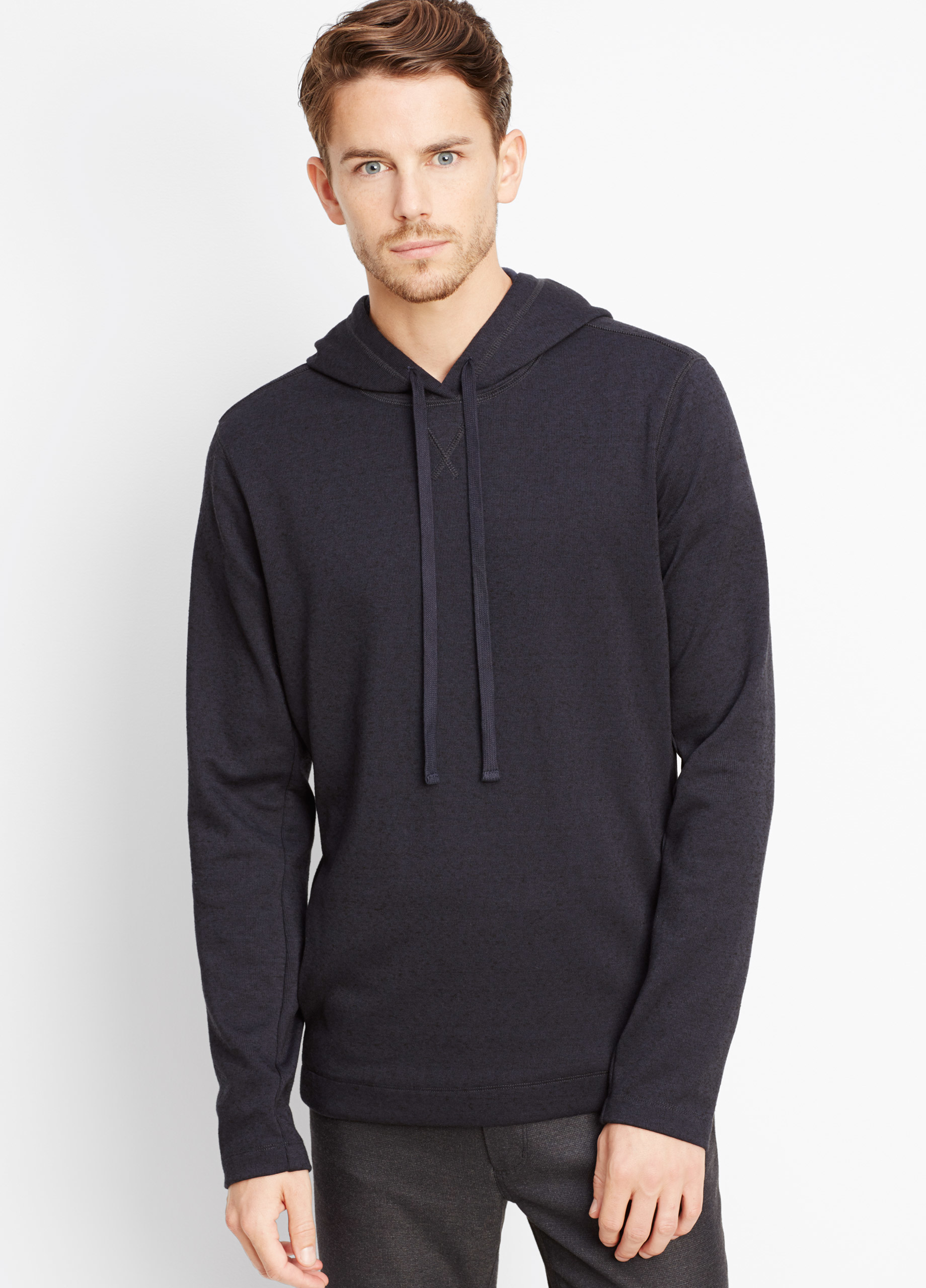 Vince Double Knit Pullover Hoodie in Blue for Men | Lyst