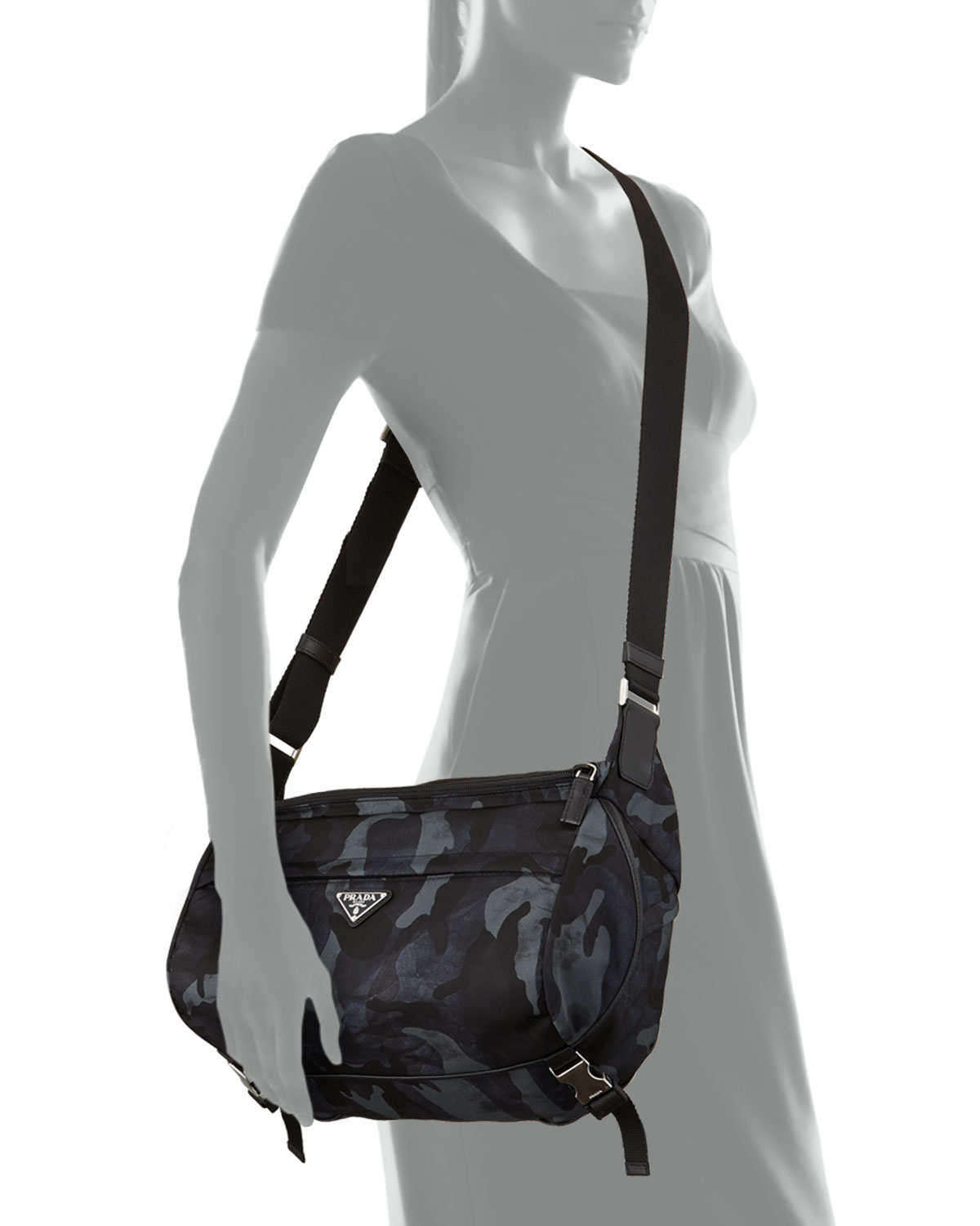 71e8c0ed6e1b Lyst - Prada Camo Nylon Medium Messenger Bag in Blue for Men