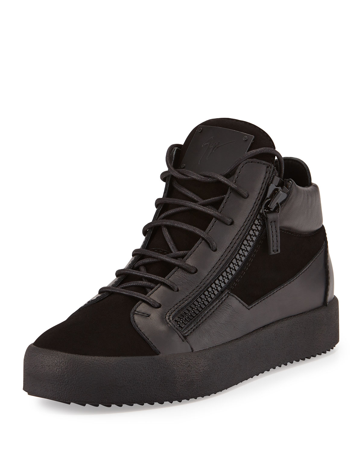 Giuseppe Zanotti Mid-Top Sneakers Kriss leather black