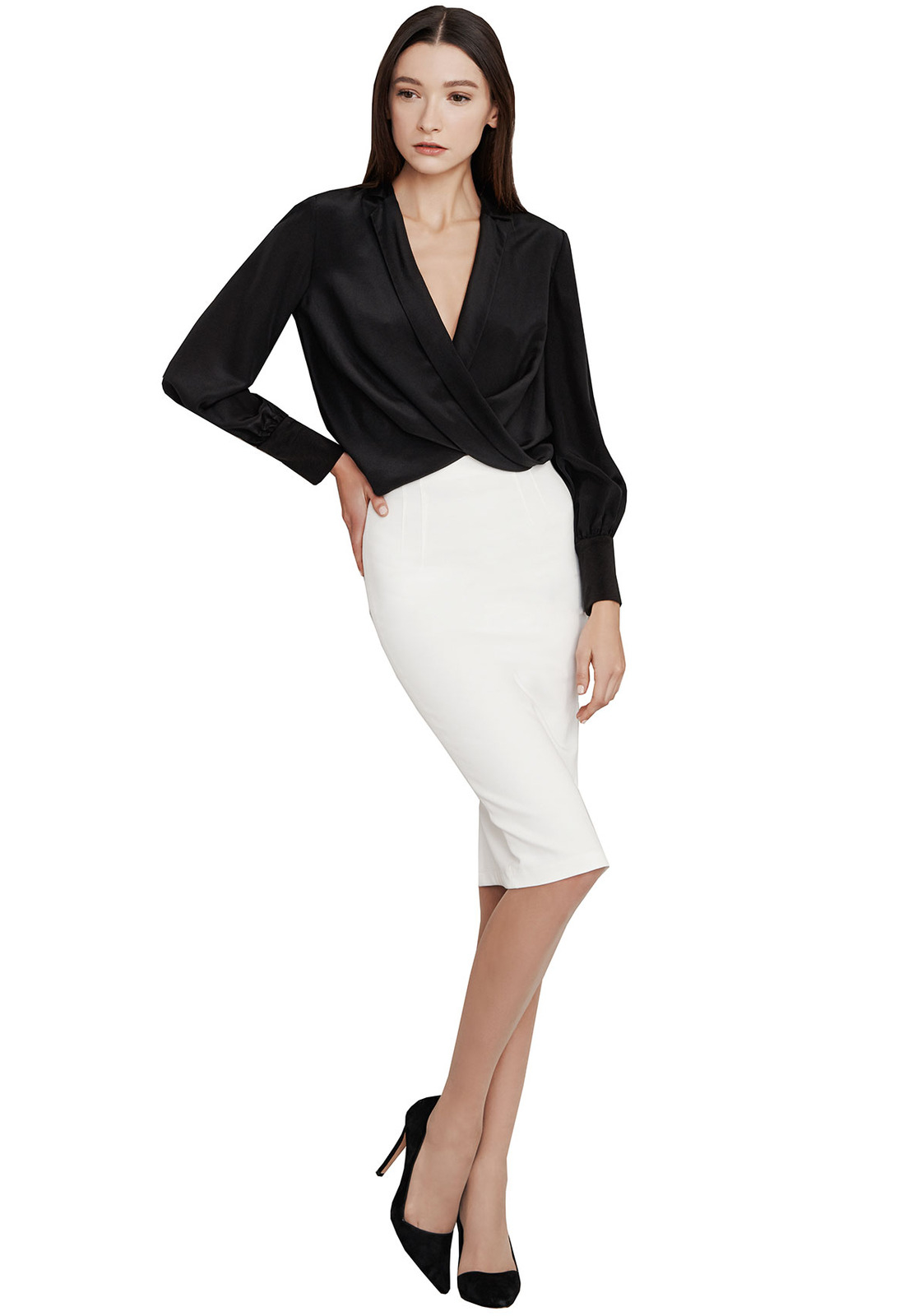 Alice + olivia Super High Waist Pencil Skirt in Natural | Lyst