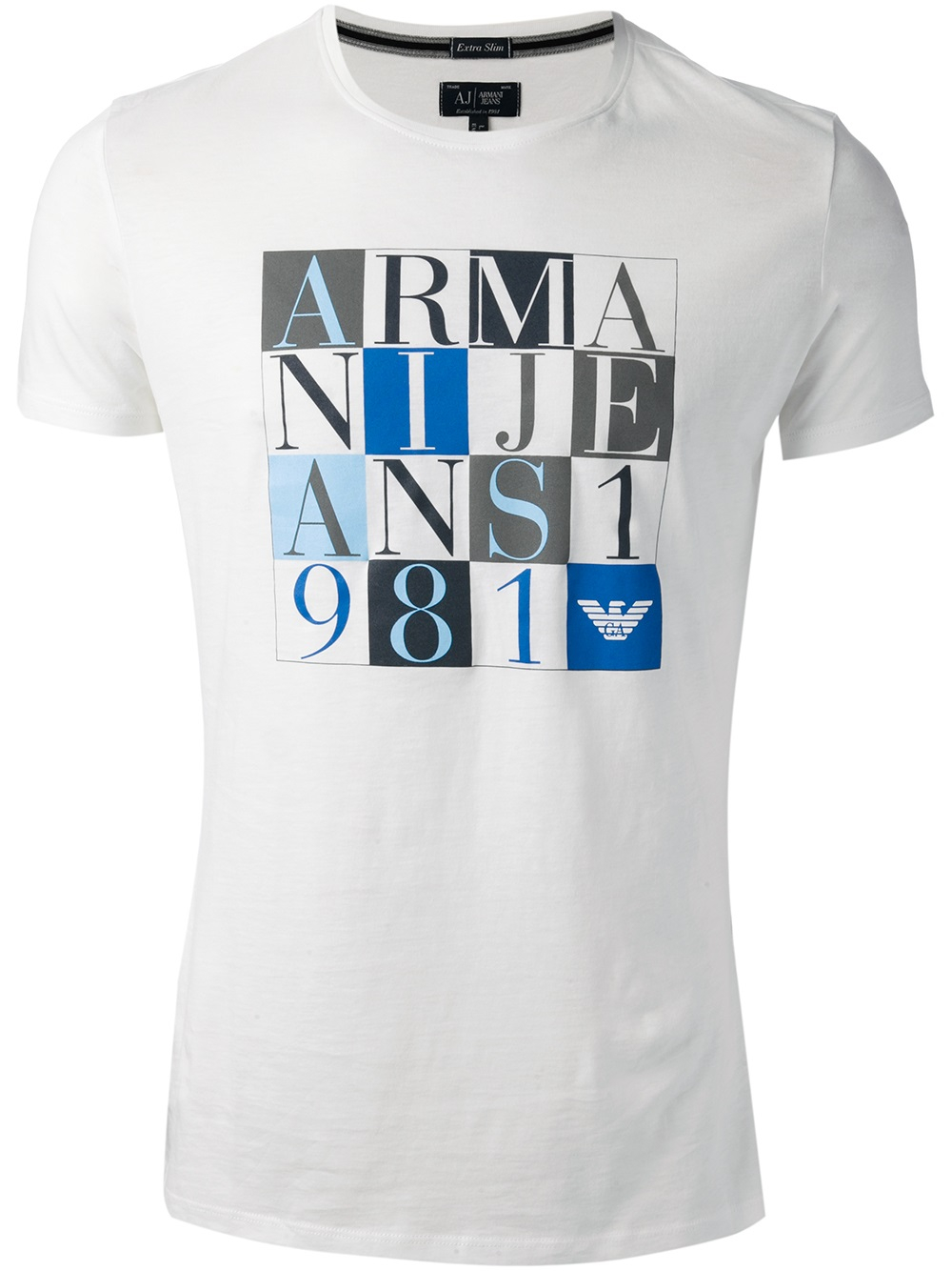 lyst armani jeans logo t shirt in white for men. Black Bedroom Furniture Sets. Home Design Ideas