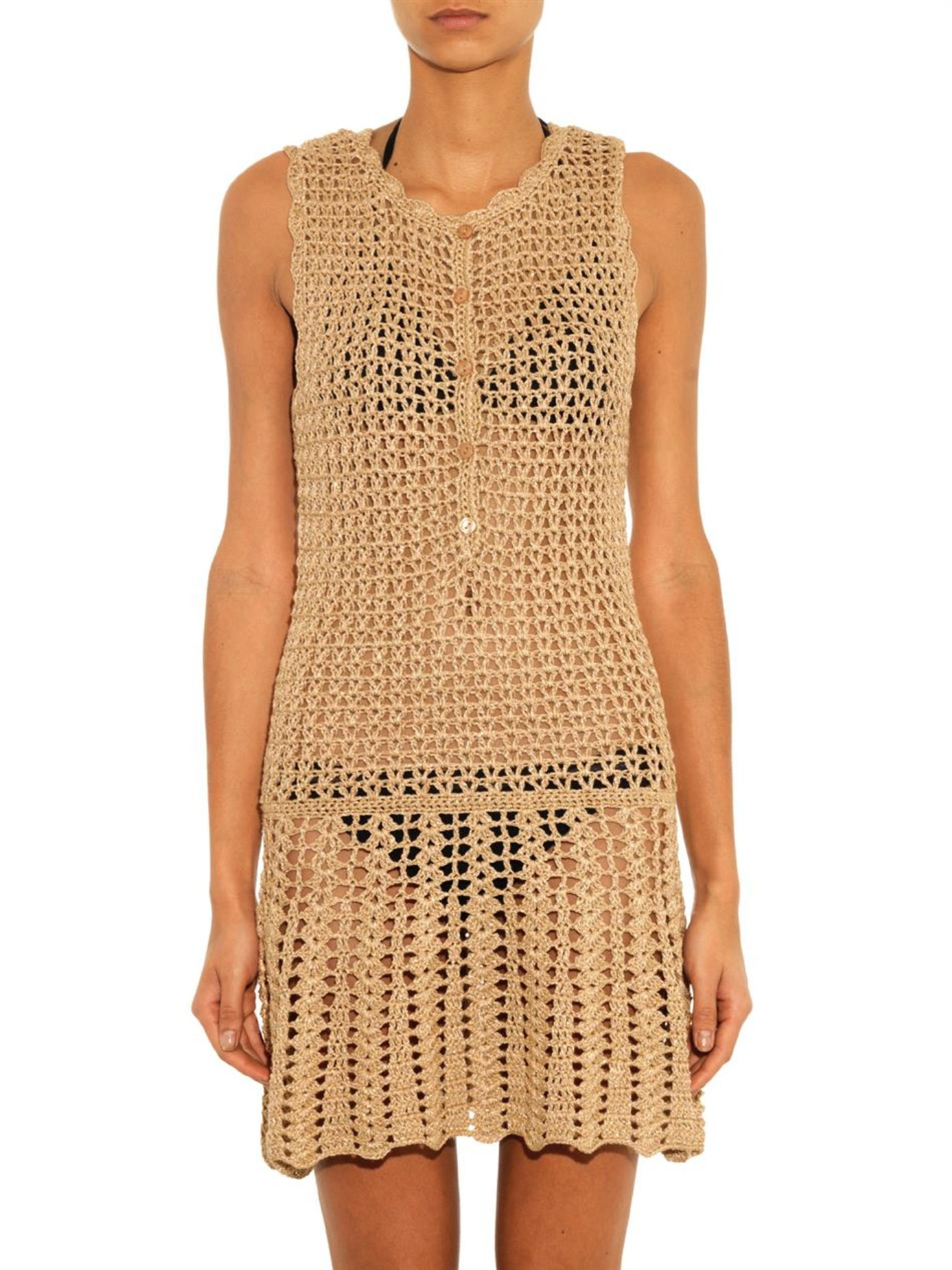 9211cb7ee3 Melissa Odabash Rosie Metallic-Crochet Dress in Metallic - Lyst