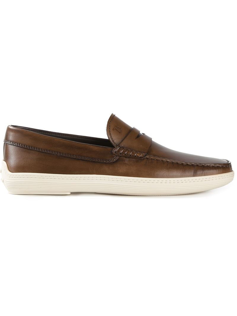 Tod's Rubber Sole Penny Loafers in Brown for Men - Lyst