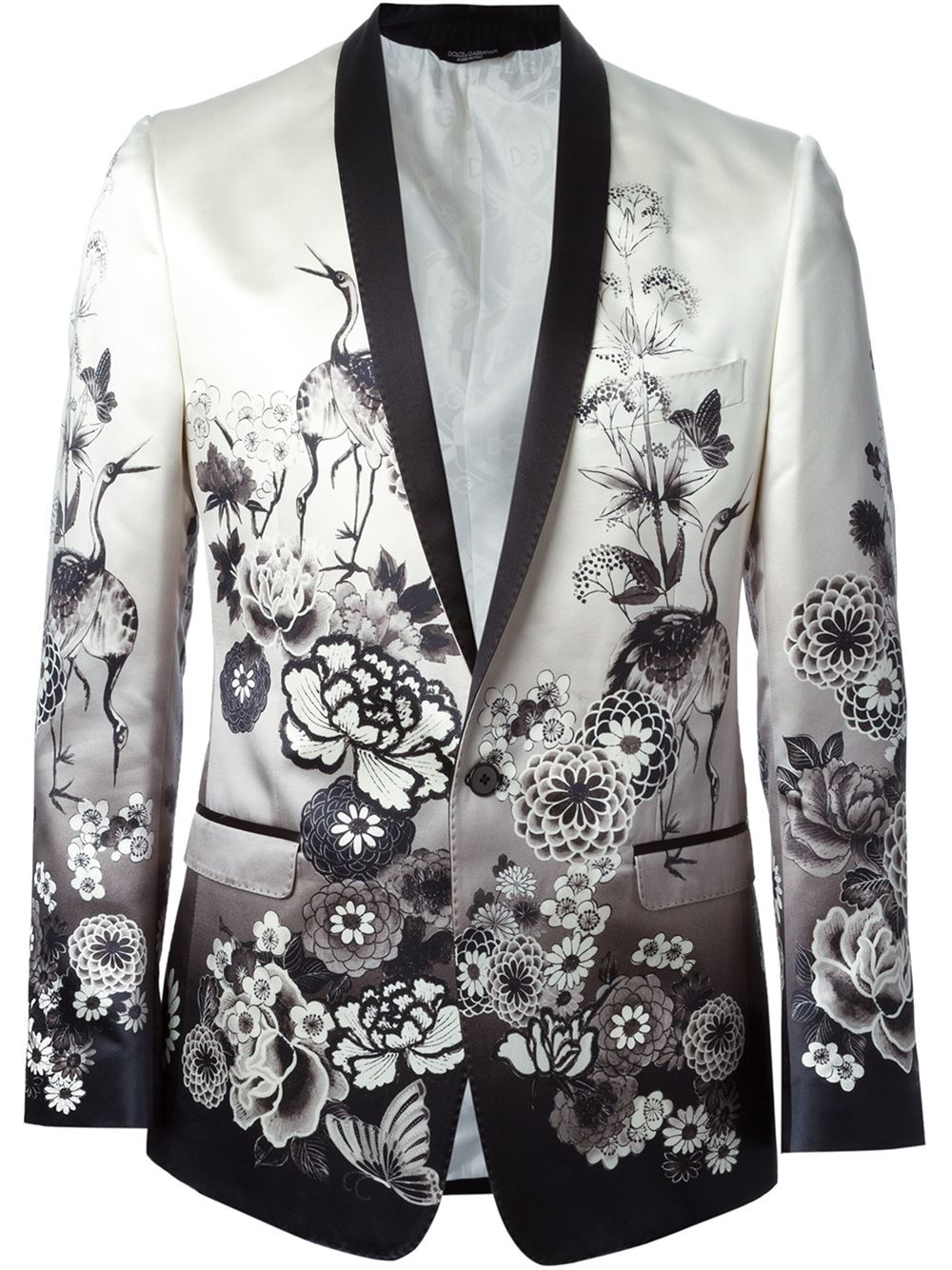 Dolce Amp Gabbana Floral And Crane Print Jacket In Natural
