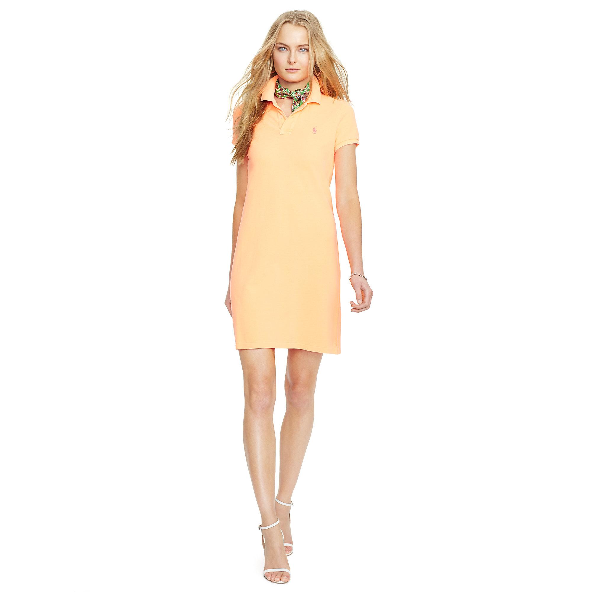Polo ralph lauren Cotton Mesh Polo Dress in Orange | Lyst