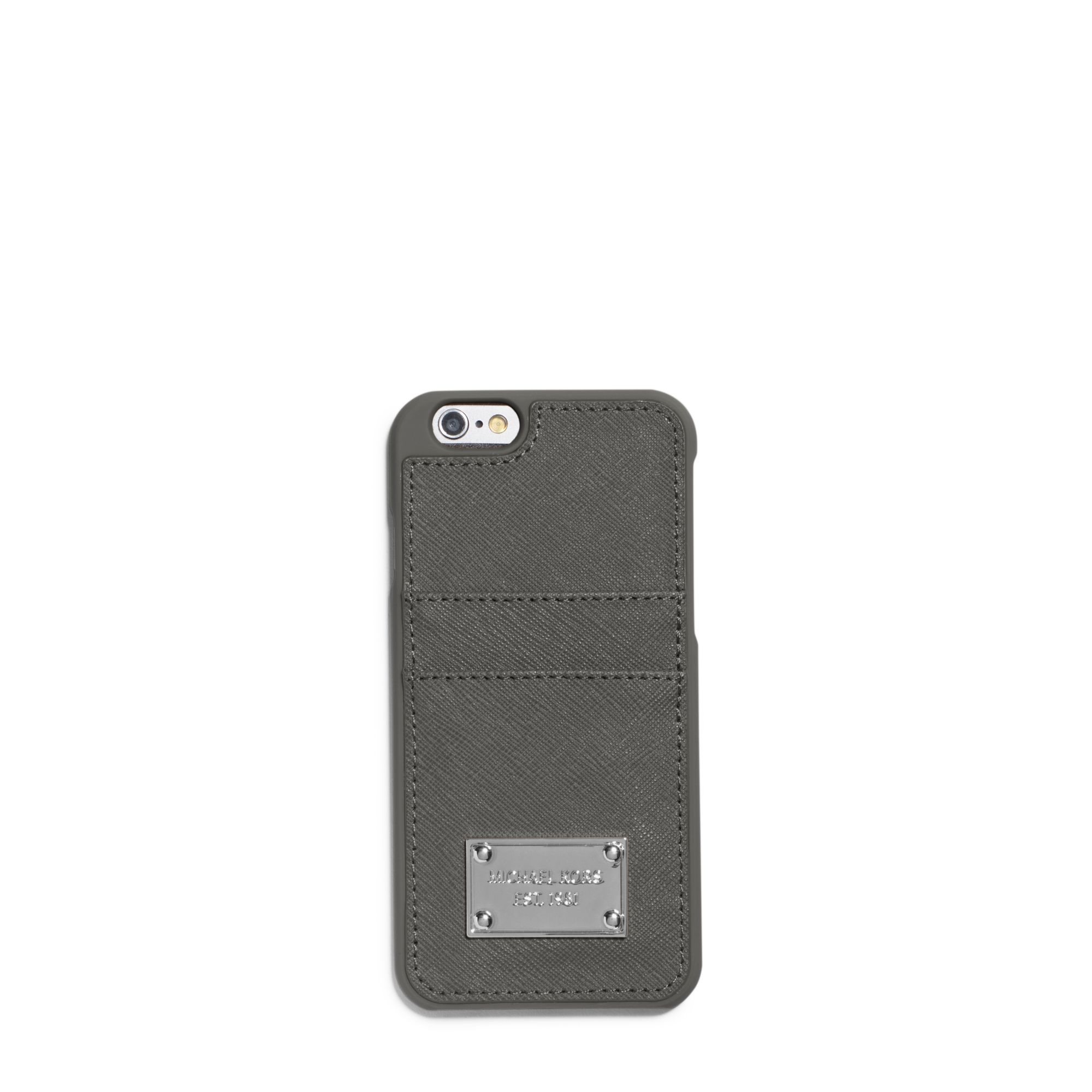3fd559c4bc9b9 Lyst - Michael Kors Saffiano Leather Pocket Smartphone Case in Gray