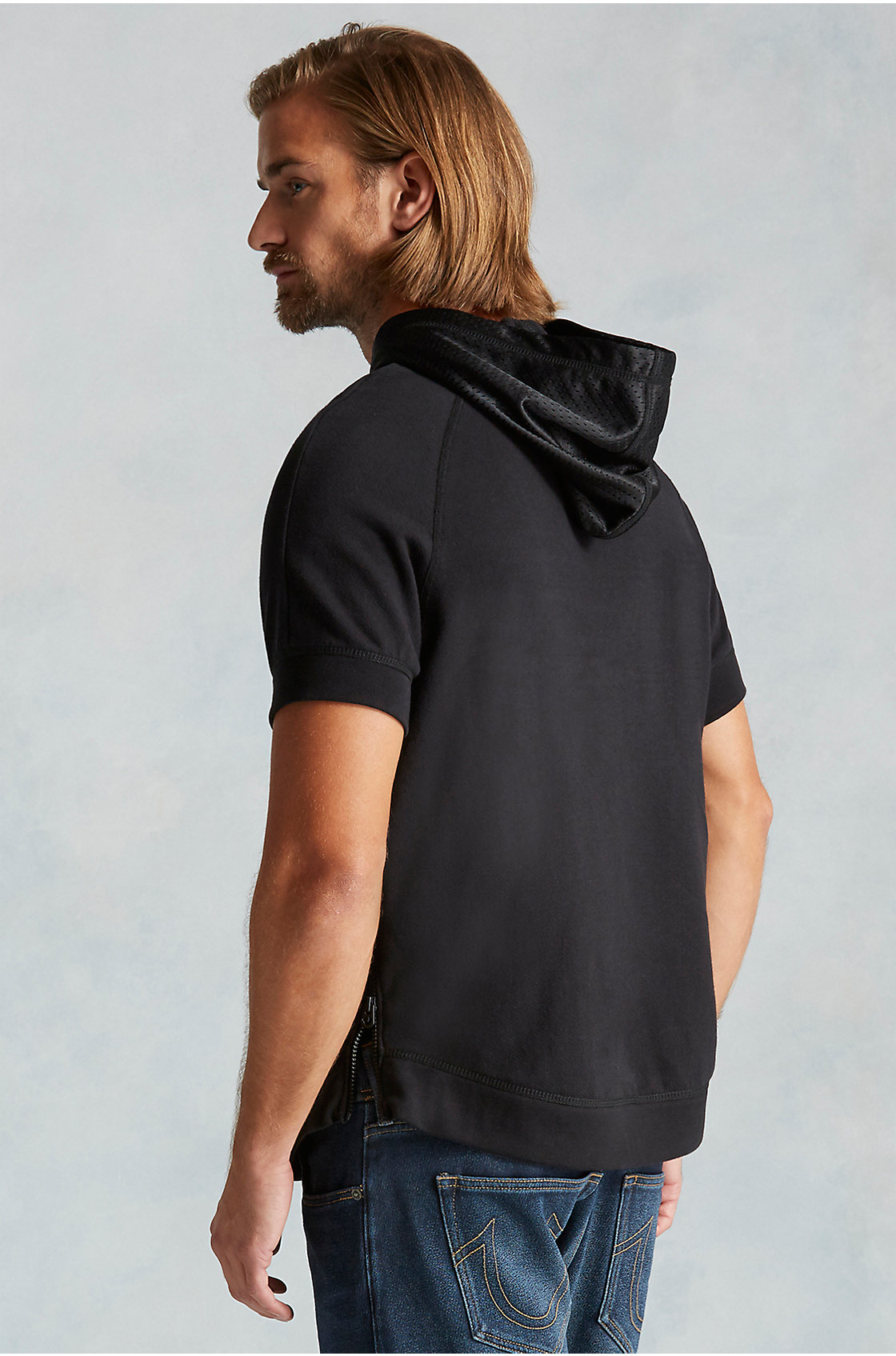 Short sleeve pullover hoodie