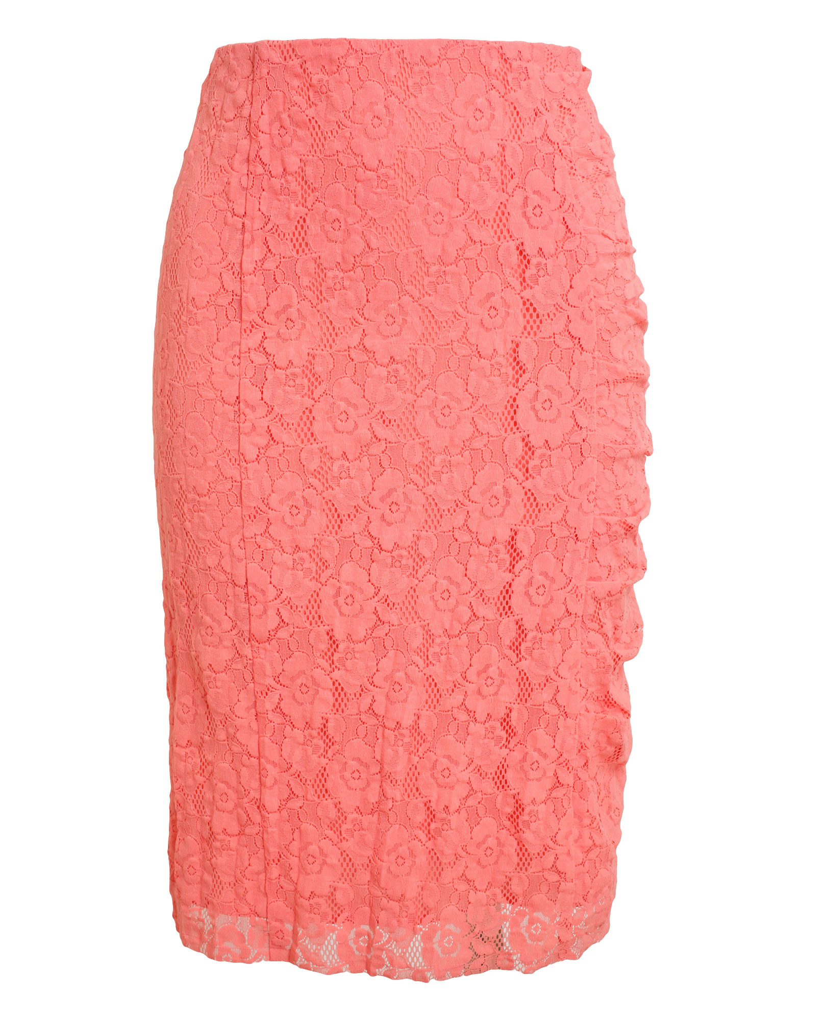 ricci floral lace pencil skirt in pink lyst