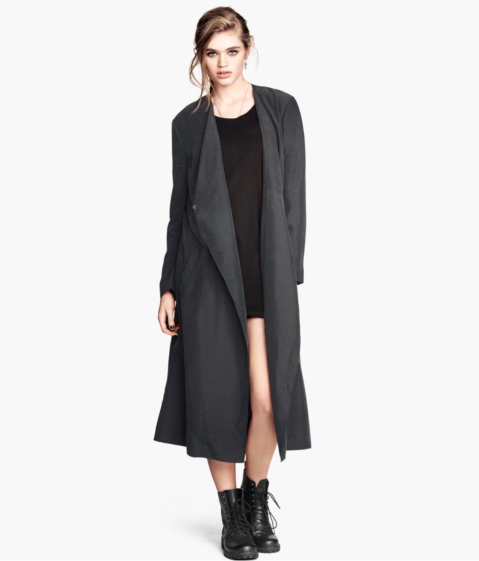 H&m Coat in A Modal Blend in Black | Lyst