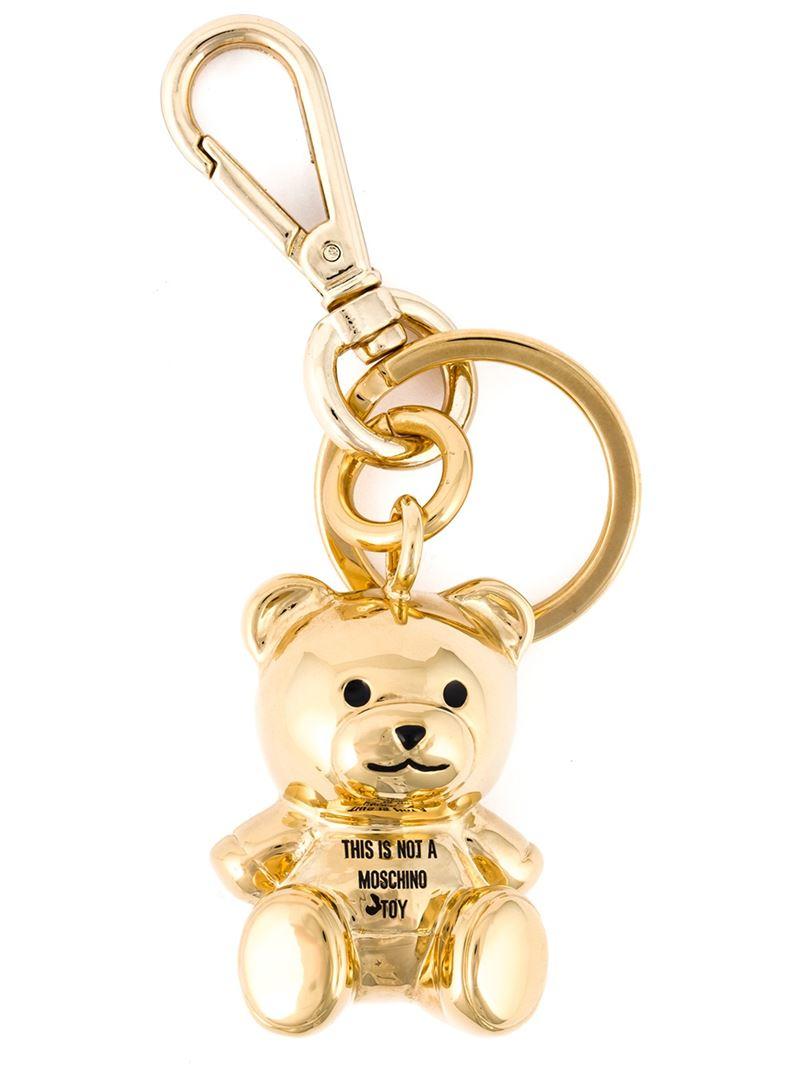 Lyst Moschino Teddy Bear Keyring In Metallic