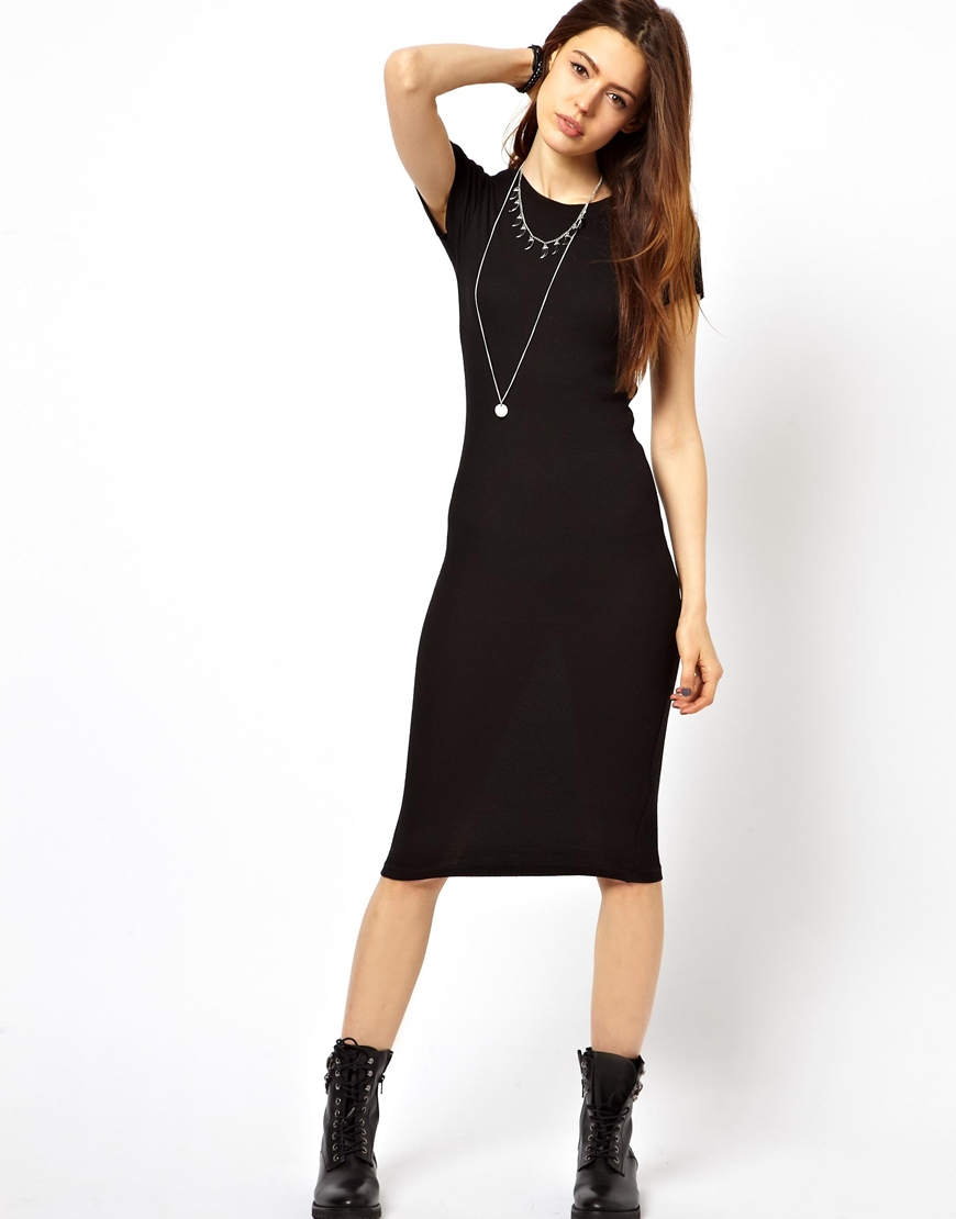 Asos Midi Bodycon Dress In Rib With Short Sleeves in Black | Lyst