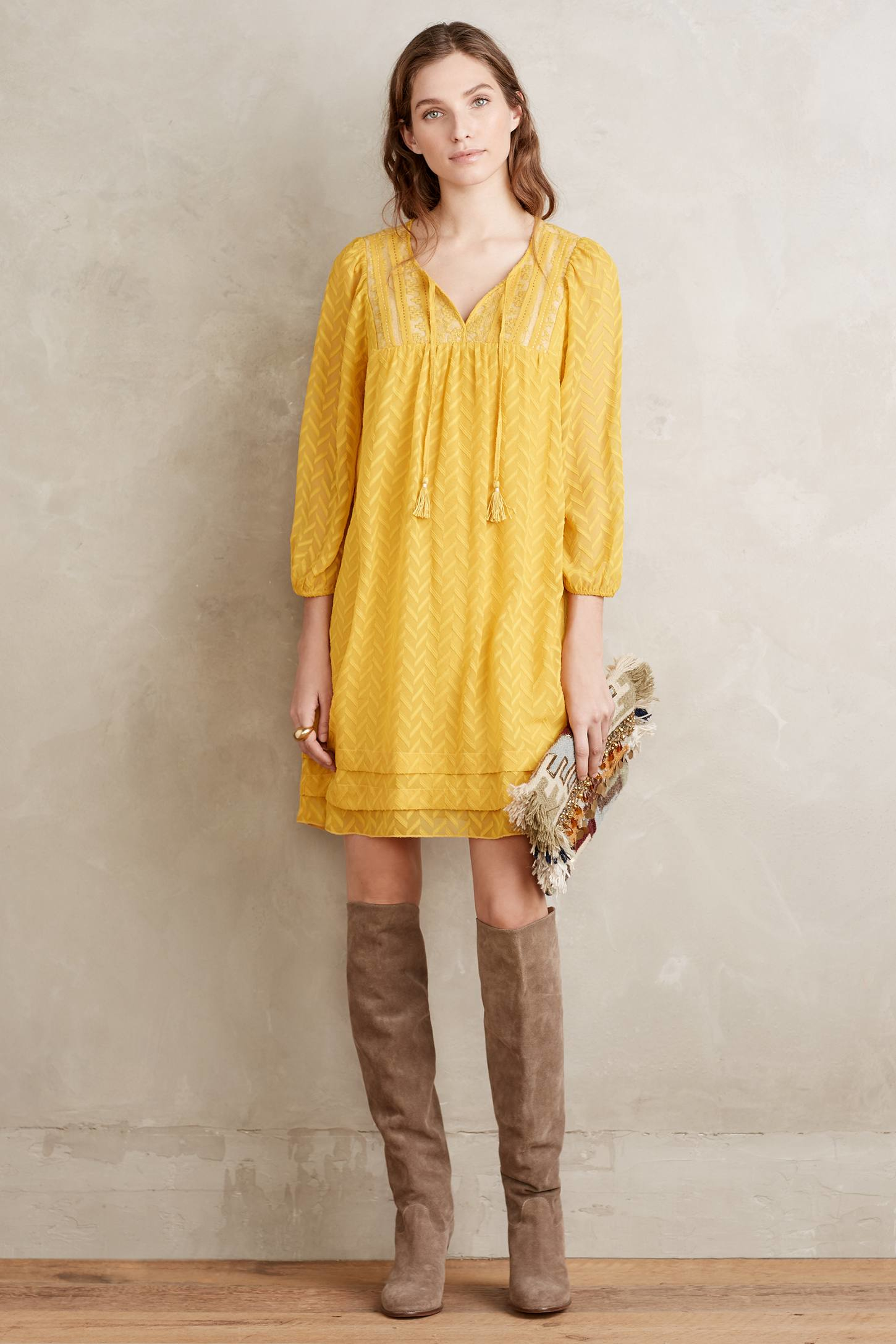 One September Anwen Peasant Dress In Yellow Lyst